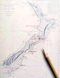 античная карта Новая Зеландия Стоковые Фотографии RF