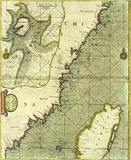 Античная карта побережья Китая Стоковая Фотография RF