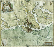 Античная карта Стокгольм, Швеция Стоковые Фото
