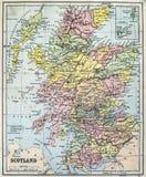 Античная карта Шотландии Стоковое Изображение