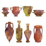Античная керамика, силуэты акварели стоковое изображение rf