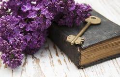 Античная книга и старый ключ Стоковое Изображение