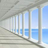 Античная колоннада на предпосылке голубого моря иллюстрация вектора