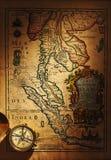 античная латунная карта компаса старая над Таиландом Стоковое Изображение RF