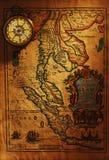античная латунная карта компаса старая над Таиландом Стоковые Фото