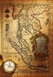 античная латунная карта компаса старая над Таиландом Стоковая Фотография