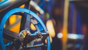 Античная морская стальная машина колеса стоковая фотография rf