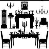 античная область обедая традиционное inte мебели старое Стоковая Фотография