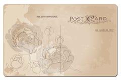 Античная открытка с конструкцией цветка лилии Стоковое Фото