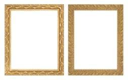 Античная рамка золота на белой предпосылке Стоковая Фотография