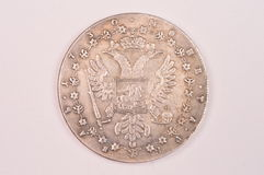 Античная серебряная обратная сторона Анны императрицы русского монетки 1730 рубля Стоковая Фотография RF