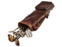 Античная сумка при гольф-клубы изолированные на белизне Стоковое Фото