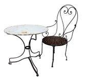 античная таблица металла стула Стоковые Изображения