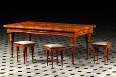 античная таблица 3 табуреток 3d Стоковая Фотография