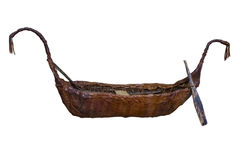 Античная шлюпка при весла изолированные на белой предпосылке Стоковая Фотография RF