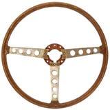 Античное деревянное рулевое колесо автомобиля изолированное на белизне стоковое изображение rf