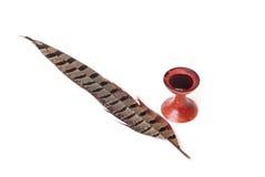 античное пер inkwell пера деревянное Стоковые Изображения