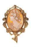 античной белизна brooch вертела изолированная камеей Стоковые Изображения