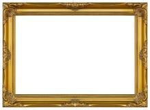 Античной стойка золота изолированная рамкой декоративная высекаенная деревянная Стоковое Изображение