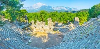 Античные амфитеатр и держатель Tahtali, Phaselis, Tekirova, турок Стоковое фото RF
