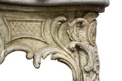 Античные барочные изолированные детали таблицы Стоковое Фото