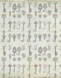 Античные ключи сбора винограда на предпосылке бумаги гроссбуха Стоковые Изображения