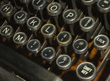 Античные ключи машинки закрывают вверх Стоковая Фотография