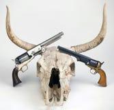 Античные пистолеты и череп коровы Стоковое Изображение RF