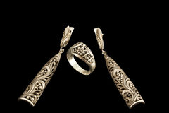 Античные серебр, кольцо и серьги Стоковое фото RF