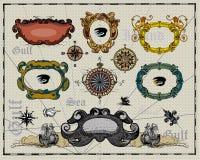 античные украшения обрамляют карту Стоковое фото RF