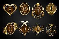 Античные keyholes на черной предпосылке стоковое фото