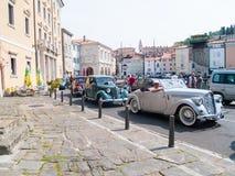 Античный автомобиль в Piran Стоковое Изображение