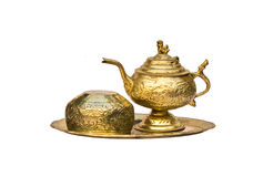 Античный латунный комплект чая Стоковое фото RF