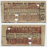Античный билет на поезд Стоковые Фото