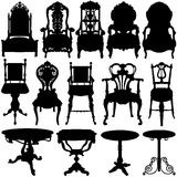 античный вектор таблицы стула Стоковая Фотография