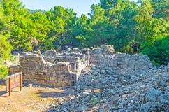 Античный город в лесе, Phaselis, Турции Стоковые Фото