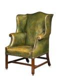 Античный кожаный изолированный стул крыла Стоковая Фотография