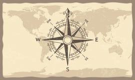 Античный компас на карте мира Винтажная географическая история составляет карту с иллюстрацией вектора стрелок компасов морского  иллюстрация вектора
