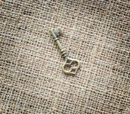Античный ключ на предпосылке реднины Стоковые Изображения RF
