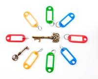 Античный ключ с ярлыком Стоковое Изображение RF