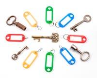 Античный ключ с ярлыком Стоковая Фотография RF