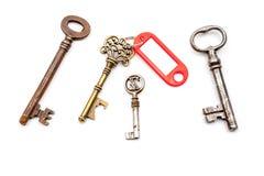 Античный ключ с ярлыком Стоковые Изображения
