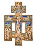 Античный правоверный латунный крест Стоковое Изображение