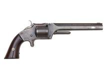 Античный револьвер периода гражданской войны на белизне Стоковые Изображения
