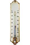 Античный ржавый термометр изолированный на белизне Стоковые Изображения