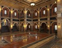 Античный роскошный грандиозный интерьер Hall иллюстрация вектора