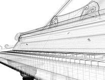 Античный рояль с путем иллюстрация штока