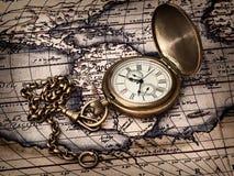 античный сбор винограда карты часов Стоковое Изображение