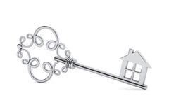 Античный серебряный ключ двери Стоковое Изображение
