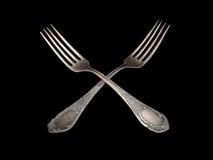 Античный серебр вилки таблицы silverware над чернотой Стоковое Изображение